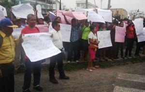 Amerindians protesting in front of Parliament Building. [iNews' Photo]