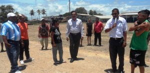 Dr. Mahadeo and members of the Whim Community inspecting ongoing work at the Whim Com.Centre.