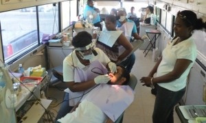 Persons doing tooth extraction and cleaning