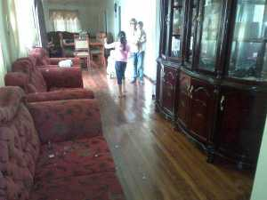 The shattered glass inside the woman's house. [iNews' Photo]