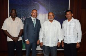 President Donald Ramotar and Minister of Public Works, Robeson Benn with the new Ambassador of Spain to Guyana Jose Maria Fernandez Lopez and Honorary  Consul of Spain to Guyana,  Brian Tiwari.