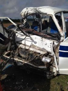 The mangled minibus. [iNews Citizen Reporter's Photo]