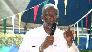 Presidential Advisor on Community Development Odinga Lumumba giving the feature address at the annual flag raising ceremony in Region Seven