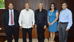 Members of the AHI and Marriott Hotel team paid a courtesy call to President Donald Ramotar today to introduce Mr. Grisi.  From left to right: Chairman of AHI, Winston Brassington,  President, Donald Ramotar,  General Manager of the Marriott Hotel Guyana, Roberto Grisi, Company Secretary of AHI, Marcia Nadir -Sharma, and Area Vice President- South America, Rahul Vir.