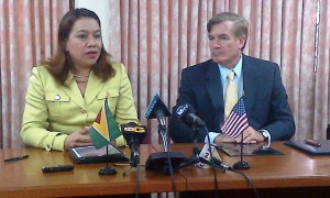 Guyana's Foreign Affairs Minister, Carolyn Rodrigues – Birkett and US Ambassador to Guyana, Brent Hardt