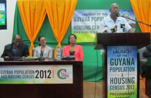 Statistician and Census Officer Lennox Benjamin addresses the media. [iNews' Photo]