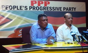 General Secretary of the PPP, Clement Rohee (right) and Zulfikar Mustapha. [iNews' Photo]