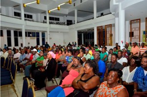 A section of the crowd of Guyanese attending a meeting with President Donald  Ramotar