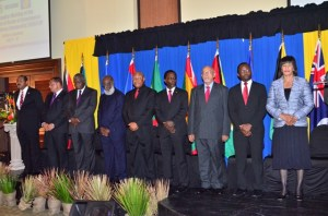 Guyana's Head of State, Donald Ramotar (3rd from right) and other Caricom Heads at the 35th Caricom Heads of Government Meeting in Antigua and Barbuda