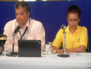 Mr Gouveia and his wife, Debbie Gouveia during the press conference at Duke Lodge. [iNews' Photo]