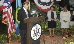 US Ambassador Hardt delivering his remarks at the event. [iNews' Photo]