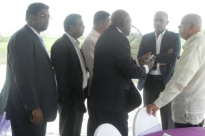 President Donald Ramotar, Minister Irfaan Ali and other officials at the sod turning ceremony. [iNews' Photo]