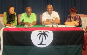 General Secretary of PNC, Oscar Clarke (second from right) along with other PNCR members. [iNews' Photo]
