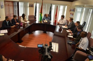 Minister of Foreign Affairs, Carolyn Rodrigues-Birkett, Minister of Human Services and Social Security, Jennifer Webster, Minister of Natural Resources and Environment, Robert Persaud, (at left) with Minister of Home Affairs Clement Rohee chairing the meeting. US Charge d'Affaires Bryan Hunt and other embassy officials are on the right