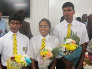 TOP CAPE STUDENTS: L - R: Prashant Shivdas, Deowattie Narine and Andy Sattan. [iNews' Photo]