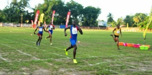 Winston George wins the men's 400 metres at the Boyce and Jefford Track and Field Classic. [iNews' Photo]