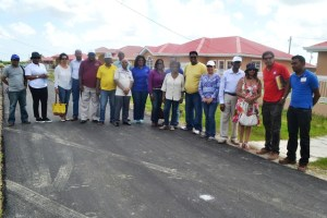 Minister of Housing and Water, Irfaan Ali along with Minister of Foreign Affairs, Carolyn Rodrigues- Birkett, Director General of the Foreign Affairs Ministry Elisabeth Harper and the Guyanese Heads of Missions in one of the Housing schemes on the East Bank Demerara