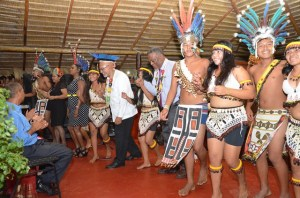 President Ramotar, Prime Minister Samuel Hinds and other Cabinet Members join in celebrating with the Surama Dance Group of Region Nine. [GINA Photo]
