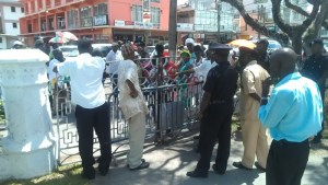 Members of the City Constabulary prevent citizens from entering City Hall. [iNews' Photo]