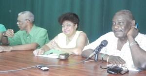 APNU Members L-R David Granger,Amna Ally and Winston Felix