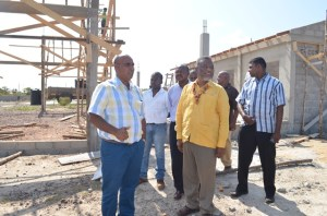 Prime Minister, Samuel Hinds during the inspection of works at the new Lethem Power Station which is under construction [GINA photo]