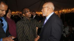H.E President Donald Ramotar having a one on one conversation with a Guyanese in Washington