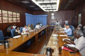 President Donald Ramotar, Cabinet Sector Ministers and other officials meeting to discuss Guyana's preparedness for dealing with any possible Ebola cases. [GINA Photo]