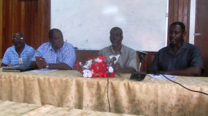 Vice President of the GTUC, Norris Witter (center) along with other members. [iNews' Photo]