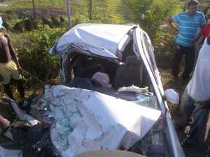 The mangled car following the accident.
