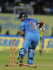 Suresh Raina was bowled by Dwayne Bravo for a duck