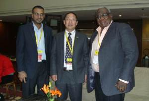 Minister Robert Persaud and Chairman of the Board of Directors of the Guyana Geology and Mines Commission, Mr. Clinton Williams along with another participant at the Mining Conference.