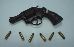 The firearm and ammunition found by the Police.