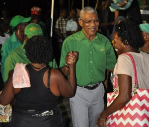 Mr Granger greets some of his supporters shortly after his speech.