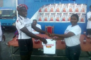 Orville Hinds collects his winning prize