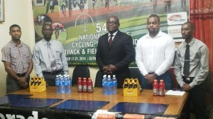 From Left: Banks DIH Representative, Feral Nelson;  GTU President, Mark Lyte; MOE CEO Olato Sam; School Nationals PRO Edison Jefford and Gatorade Brand Manager, Larry Wills at the press conference.