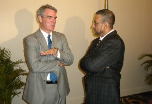 ExxonMobil's Vice President, Eric Oswald [left] and Minister of Natural Resources, Robert Persaud.