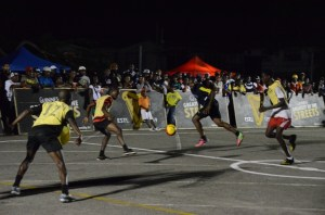 Some of the action during the night's action.