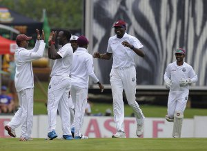 West Indies celebrate an early wicket