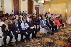 President Donald Ramotar among the gathering at Demerara Bank's 20th Anniversary celebration.