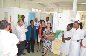 Minister of Health, Dr Bheri Ramsaran engaging nurses and doctors during a visit at the Georgetown Public Hospital's Maternal Unit