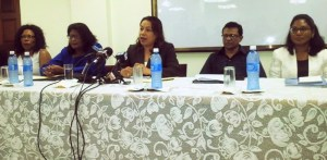 Foreign Affairs Minister, Carolyn Rodrigues-Birkett and her team during the press conference.