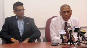 T&T's Agriculture Minister, Devant Maharaj [left] and Guyana's Minister of Agriculture, Dr Leslie Ramsammy at the joint press conference today. [iNews' Photo]