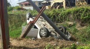 The wrecked car at at No 6 Village