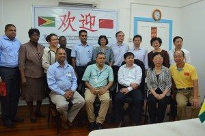 The Georgetown Public Hospital Corporation's Chief Executive Officer, Michael Khan, Secretary of the Party Committee, Subei People's Hospital of Jiangsu Province, Ms. Sun Jie, the six- member delegation from Jiangsu Province and local health officials.
