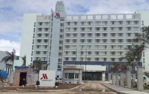 Construction continues at the Marriott Hotel.