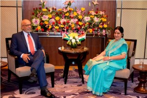 President Donald Ramotar and Ms Sushma Swaraj, Minister of External Affairs and Overseas Indian Affairs in meeting in Gujarat, India.