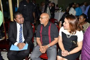Surinamese Minister of Trade, Don Tosendjojo, President Donald Ramotar and Minister of Foreign Affairs Carolyn Rodrigues-Birkett at the welcoming reception held at the Princess Hotel