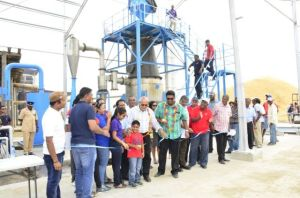 President Donald and other officials commissioning the gasifier at Ramlakhan and Sons Rice Mill at Exmouth, Essequibo