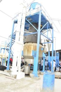 The gasifier at Ramlakhan and Sons Rice Mill at Exmouth, Essequibo