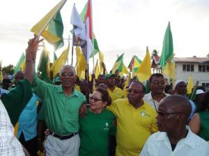 Presidential Candidate, David Granger, his wife and other supporters.